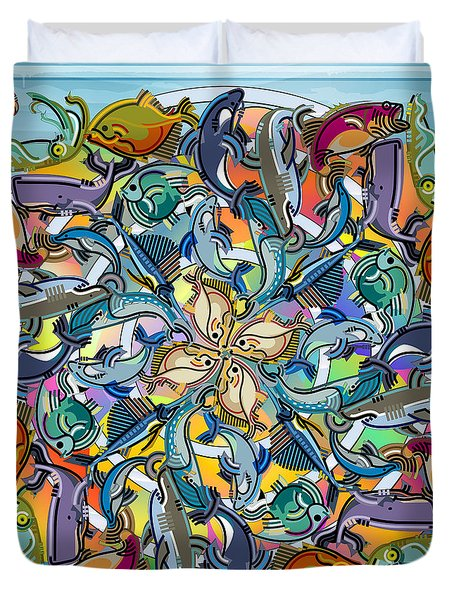Mandala Fish Pool Duvet Cover by Bedros Awak