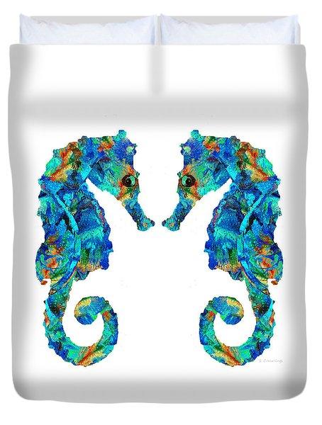 Blue Seahorse Art By Sharon Cummings Duvet Cover by Sharon Cummings