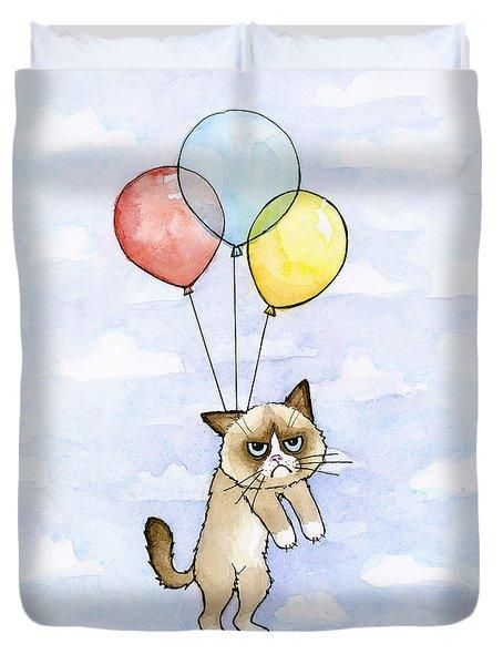Grumpy Cat And Balloons Duvet Cover by Olga Shvartsur