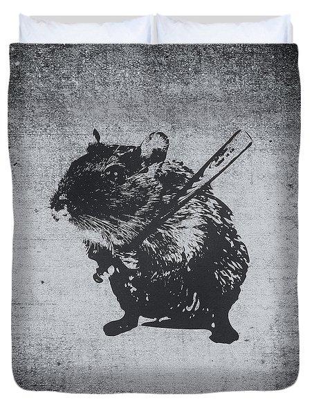Angry Street Art Mouse  Hamster Baseball Edit  Duvet Cover by Philipp Rietz