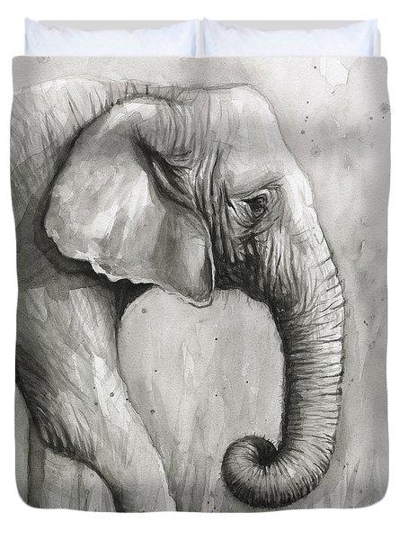Elephant Watercolor Duvet Cover by Olga Shvartsur