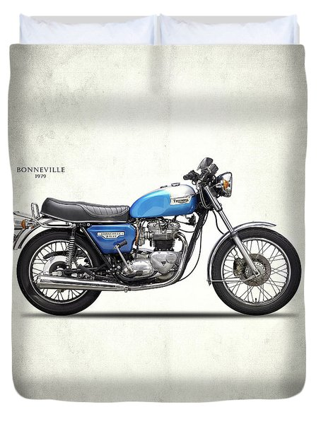 Bonneville T140 1979 Duvet Cover by Mark Rogan