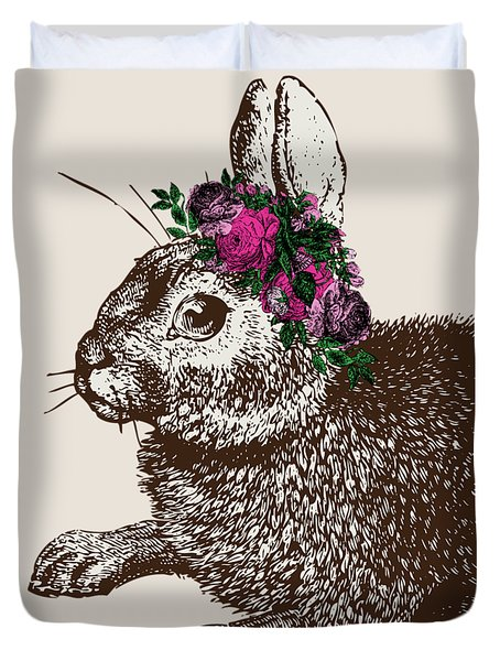 Rabbit And Roses Duvet Cover by Eclectic at HeART