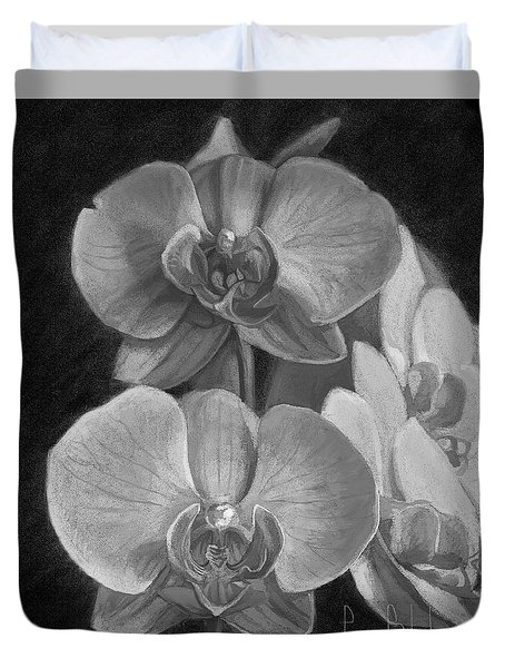 Orchids - Black And White Duvet Cover by Lucie Bilodeau