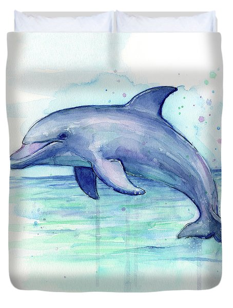 Dolphin Watercolor Duvet Cover by Olga Shvartsur