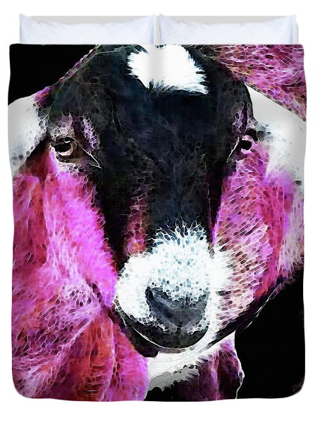 Pop Art Goat - Pink - Sharon Cummings Duvet Cover by Sharon Cummings