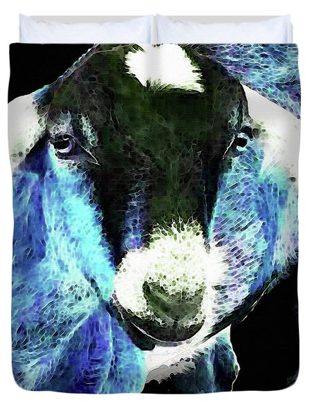 Goat Pop Art - Blue - Sharon Cummings Duvet Cover by Sharon Cummings