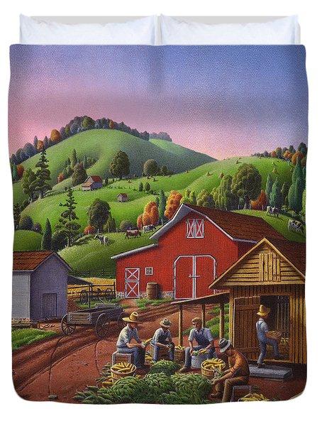 Folk Art Americana - Farmers Shucking Harvesting Corn Farm Landscape - Autumn Rural Country Harvest Duvet Cover by Walt Curlee