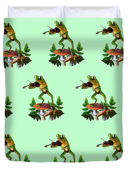 Humorous Tree Frog Playing a Fiddle Duvet Cover by Gina Femrite