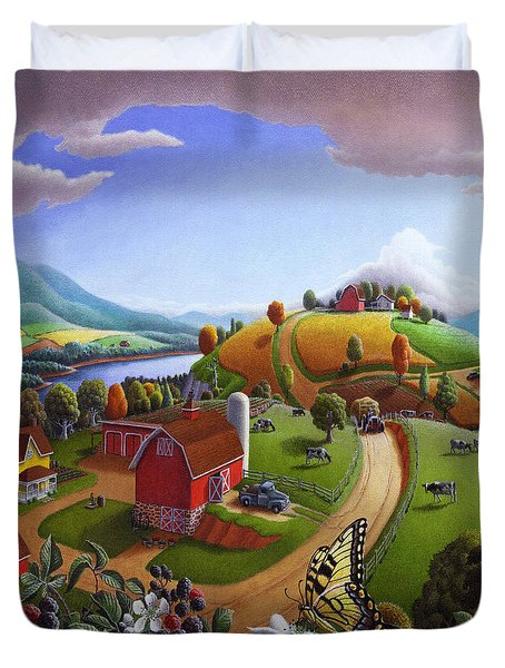 Folk Art Blackberry Patch Rural Country Farm Landscape Painting - Blackberries Rustic Americana Duvet Cover by Walt Curlee