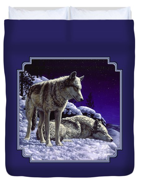 Wolf Painting - Night Watch Duvet Cover by Crista Forest