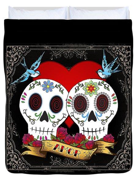 Love Skulls II Duvet Cover by Tammy Wetzel