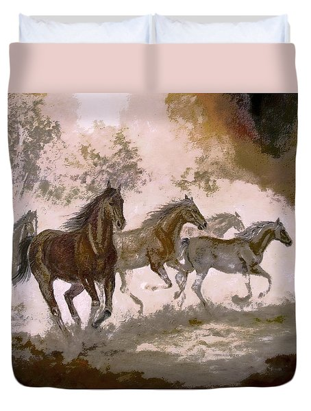 Horse Painting A dream of running wild Duvet Cover by Gina Femrite