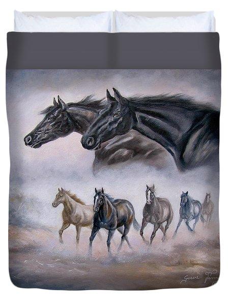 Horse Painting Distant Thunder Duvet Cover by Gina Femrite