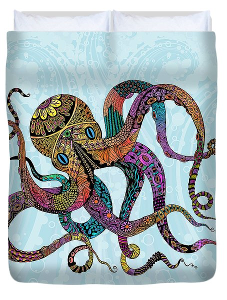Electric Octopus Duvet Cover by Tammy Wetzel