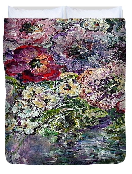 Flowers In An Antique Blue Vase Duvet Cover by Eloise Schneider