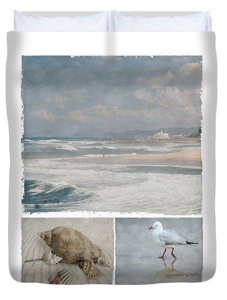 Beach Triptych 1 Duvet Cover by Linda Lees