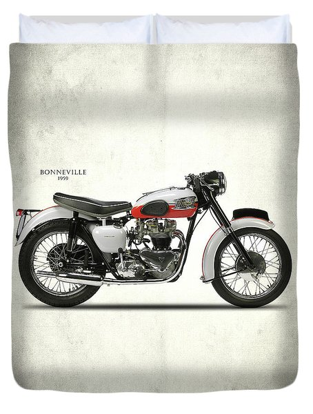 Triumph Bonneville 1959 Duvet Cover by Mark Rogan