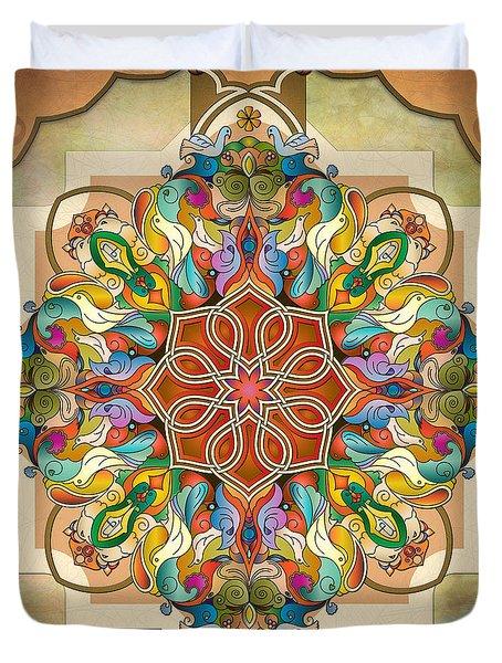 Mandala Birds Duvet Cover by Bedros Awak