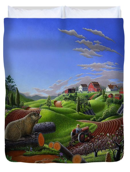 Farm Folk Art - Groundhog Spring Appalachia Landscape - Rural Country Americana - Woodchuck Duvet Cover by Walt Curlee