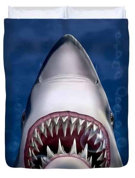 Jaws Great White Shark Art Duvet Cover by Walt Curlee
