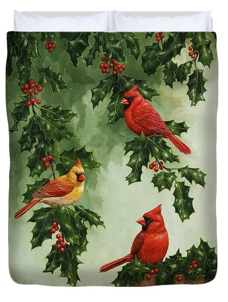 Cardinals Holiday Card - Version without snow Duvet Cover by Crista Forest