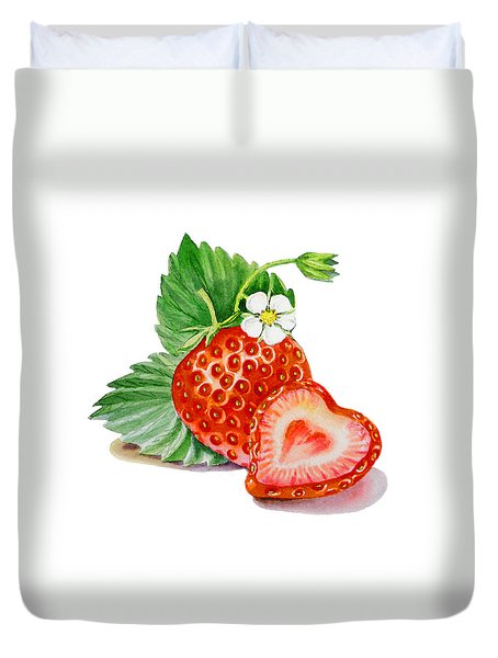 Artz Vitamins A Strawberry Heart Duvet Cover by Irina Sztukowski