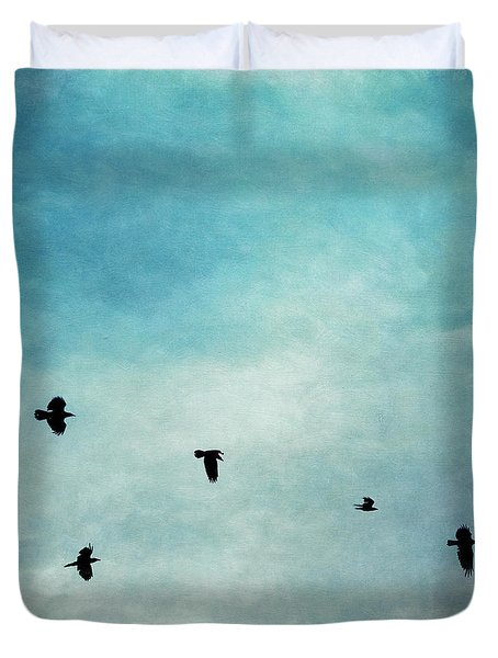As The Ravens Fly Duvet Cover by Priska Wettstein