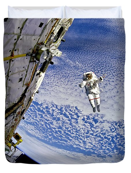 Astronaut In Atmosphere Duvet Cover by The  Vault - Jennifer Rondinelli Reilly