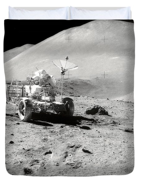 Astronaut Works At The Lunar Roving Duvet Cover by Stocktrek Images