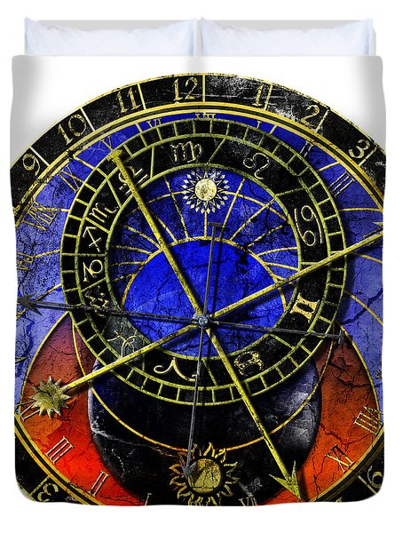 Astronomical Clock In Grunge Style Duvet Cover by Michal Boubin