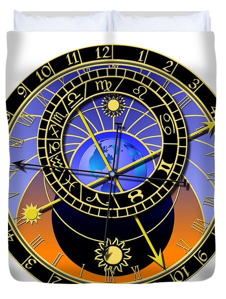 Astronomical Clock Duvet Cover by Michal Boubin
