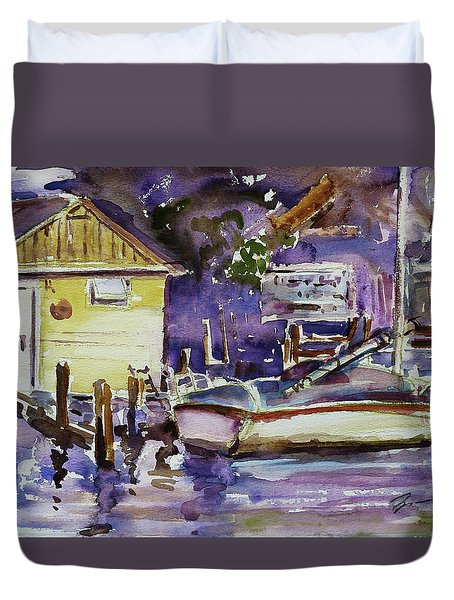 At Boat House 3 Duvet Cover by Xueling Zou
