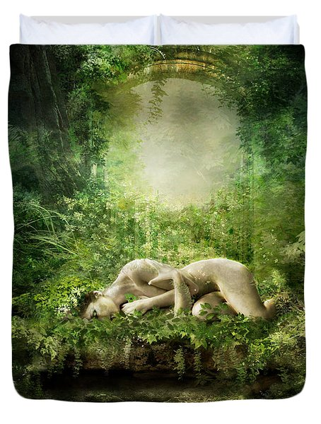 At Sleep Duvet Cover by Mary Hood