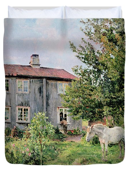 At The Farm Duvet Cover by Gerhard Peter Frantz Vilhelm Munthe