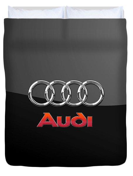 Audi 3 D Badge On Black Duvet Cover by Serge Averbukh