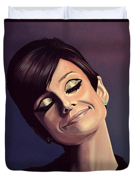 Audrey Hepburn Painting Duvet Cover by Paul Meijering