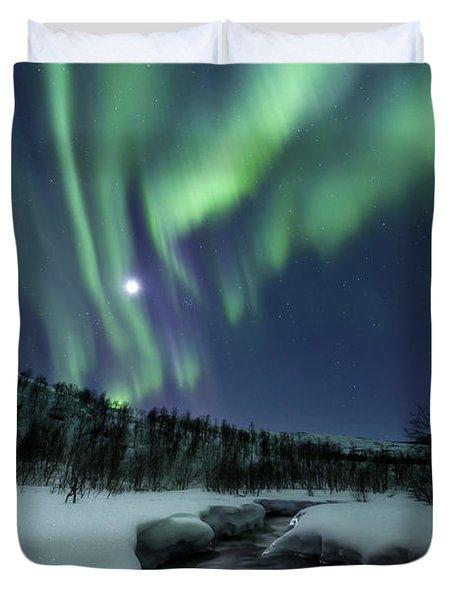 Aurora Borealis Over Blafjellelva River Duvet Cover by Arild Heitmann