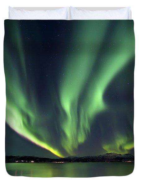 Aurora Borealis Over Tjeldsundet Duvet Cover by Arild Heitmann