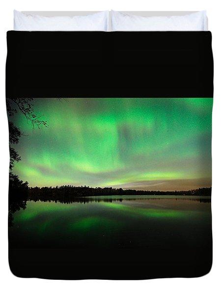 Aurora Over Tofte Lake Duvet Cover by Larry Ricker