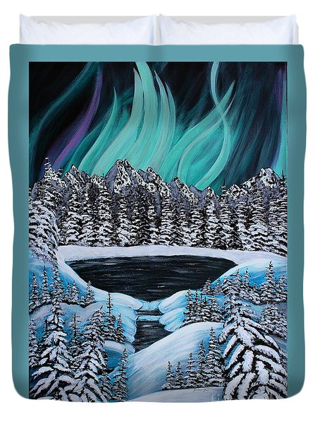Aurora's Fiery Display Duvet Cover by Barbara Griffin
