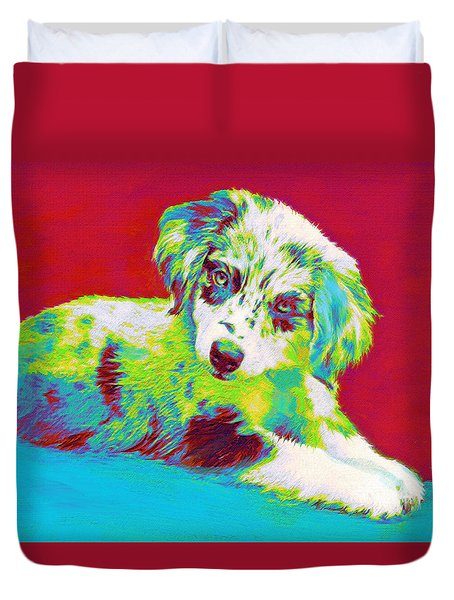 Aussie Puppy Duvet Cover by Jane Schnetlage
