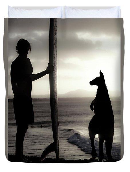 Aussie Surf Silhouettes Duvet Cover by Sean Davey