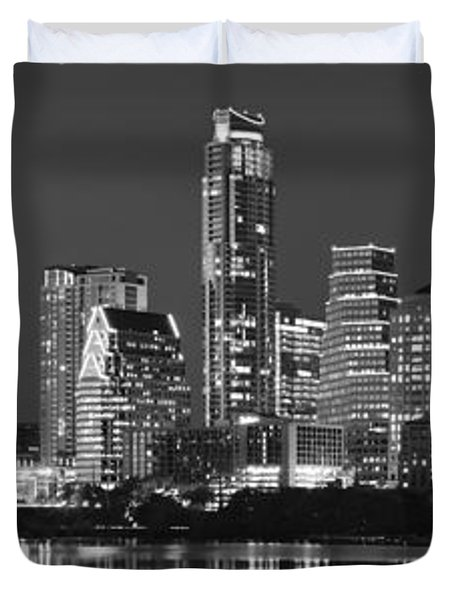 Austin Skyline At Night Black And White Bw Panorama Texas Duvet Cover by Jon Holiday