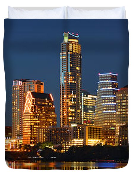 Austin Skyline at Night Color Panorama Texas Duvet Cover by Jon Holiday