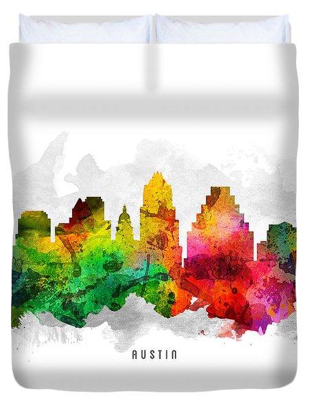 Austin Texas Cityscape 12 Duvet Cover by Aged Pixel