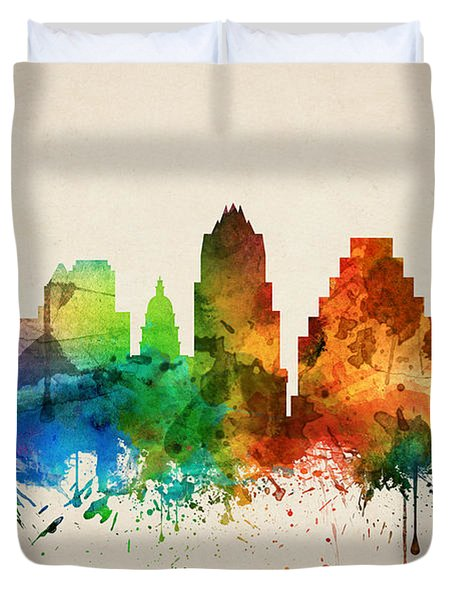Austin Texas Skyline 05 Duvet Cover by Aged Pixel