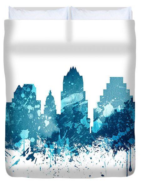 Austin Texas Skyline 19 Duvet Cover by Aged Pixel