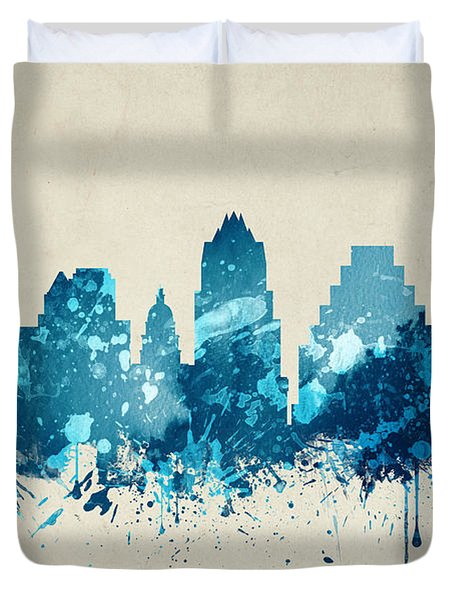 Austin Texas Skyline 20 Duvet Cover by Aged Pixel