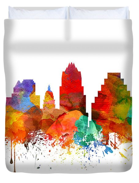 Austin Texas Skyline 21 Duvet Cover by Aged Pixel